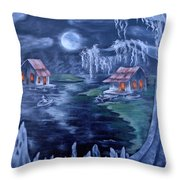 Halloween In The Swamp Throw Pillow