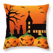 Halloween Jack O Lantern Pumpkins Illustration Throw Pillow