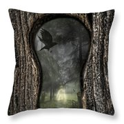 Halloween Keyhole Throw Pillow by Amanda Elwell