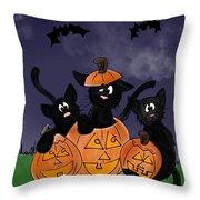 Halloween Kittens Throw Pillow