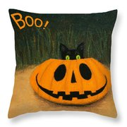 Halloween Kitty Boo Throw Pillow