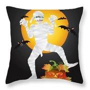 Halloween Mummy Carved Pumpkin Illustration Throw Pillow