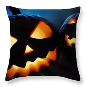 Halloween Pumpkins Closeup -  Jack O'lantern Throw Pillow by Johan Swanepoel
