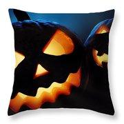 Halloween Pumpkins Closeup -  Jack O'lantern Throw Pillow