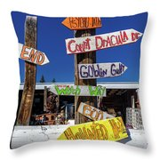 Halloween Signs Pionting In Various Throw Pillow