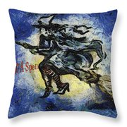 Halloween Stop For A Spell Throw Pillow