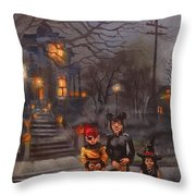 Halloween Trick Or Treat Throw Pillow by Tom Shropshire