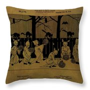 Halloween Trick Or Treaters Patent Throw Pillow