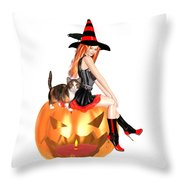Halloween Witch Nicki With Kitten Throw Pillow