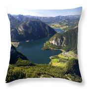 Hallstatt Lake Austria Throw Pillow