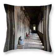 Hallway At Angkor Wat Throw Pillow