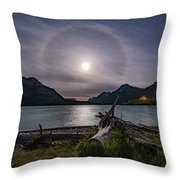 Halo Around The Solstice Moon Throw Pillow