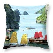 Halong Bay Sails 01 Throw Pillow