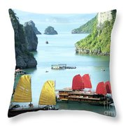 Halong Bay Sails 01 Throw Pillow by Rick Piper Photography