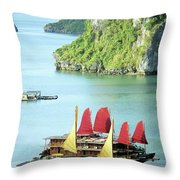 Halong Bay Sails 02 Throw Pillow