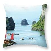 Halong Bay Sails 03 Throw Pillow