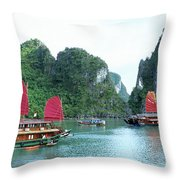 Halong Bay Sails 04 Throw Pillow