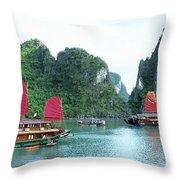 Halong Bay Sails 04 Throw Pillow