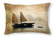 Halong Bay Vintage Throw Pillow