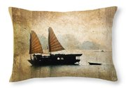 Halong Bay Vintage Throw Pillow