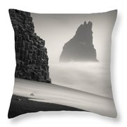 Halsenifs Hellir Sea Stack Throw Pillow
