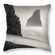 Halsenifs Hellir Sea Stack Throw Pillow