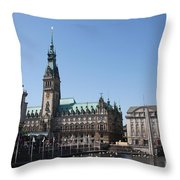 Hamburg - City Hall With Fleet - Germany Throw Pillow