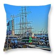 Hamburg Germany Sail Boat With Elbphilharmonie Throw Pillow