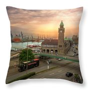 Hamburg Harbor Throw Pillow