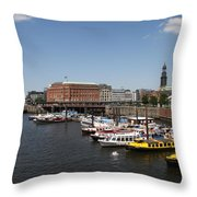 Hamburg Port With Fleet  Throw Pillow