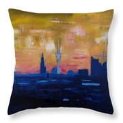 Hamburg Skyline At Dusk With Elbe Philharmonic Hall Throw Pillow
