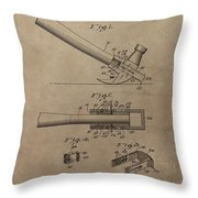 Hammer Patent Drawing Throw Pillow
