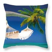Hammock Palm And Ocean Throw Pillow