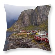 Hamnoy Rorbu Village Throw Pillow