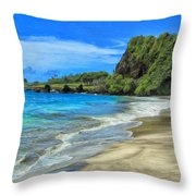 Hamoa Beach At Hana Maui Throw Pillow