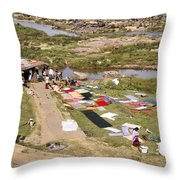 Hampi Bathing Ghats Throw Pillow