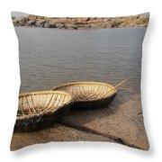 Hampi River Scenes Throw Pillow