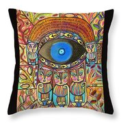 Hamsa Cat Blessing Throw Pillow