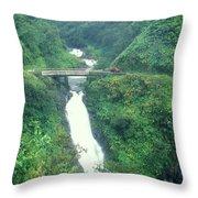 Hana Highway Waterfall Maui Hawaii Throw Pillow