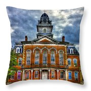Before It Burned Hancock County Courthouse Art Throw Pillow