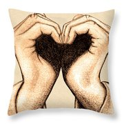 Hand Heart Throw Pillow