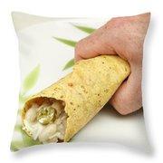 Hand Holding A Burrito Throw Pillow