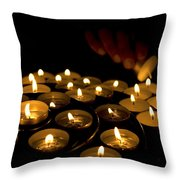 Hand Lighting Candles Throw Pillow