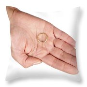 Hand Of A Woman With Wedding Ring Throw Pillow by Matthias Hauser