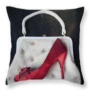 Handbag With Stiletto Throw Pillow by Joana Kruse