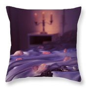 Handcuffs And Rose Petals On Bed Throw Pillow