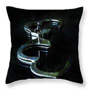 Handcuffs On Black Throw Pillow