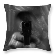 Handgun And Ammunition Throw Pillow