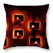 Handmade Oil Candles For Diwali Throw Pillow