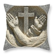 Hands And The Cross Throw Pillow